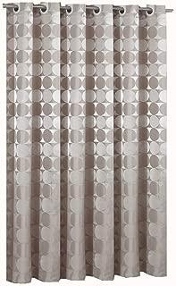 Goodbath Hookless Extra Long Shower Curtain 84 Inch, Hotel Style Round Circle Pattern Heavy Weight Waterproof Fabric Bathroom Bath Curtains, 72 x 84 Inch, Khaki