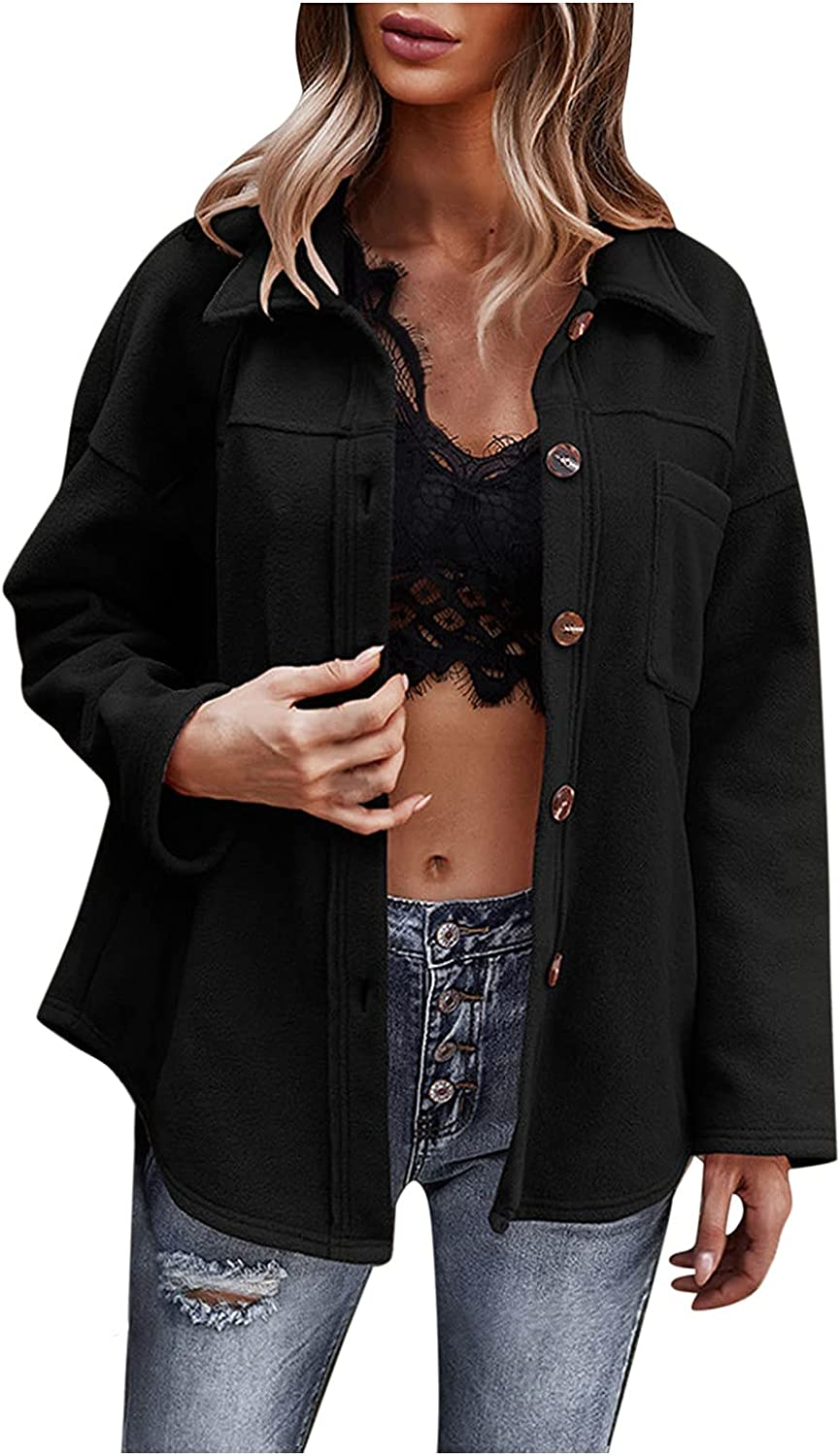 Womens Shacket Jacket Solid Color Wool Blend Long Sleeve Lapel Collar Button Down Shirt Lightweight Casual Coat