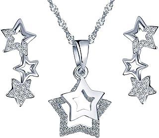 MixiuEuro Boucles doreilles /à tige en forme de C avec perles en zircone cubique Argent/é
