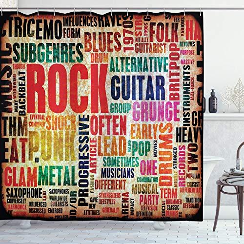 ABAKUHAUS Duschvorhang,Rock Blues Pop Punk Metal Drums Guitar & Ähnliches Beschriftet Rostiges Musik Druck, Wasser & Blickdicht aus Stoff mit 12 Ringen Schimmel Resistent, 175 X 200 cm