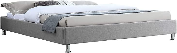 IDIMEX Lit futon Double pour Adulte Nizza Couchage King Size 180 x 200 cm 2 Places / 2 Personnes, avec sommier et Pieds en métal chromé, revêtement en Tissu Gris