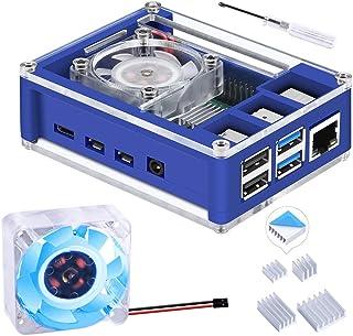 GeeekPi Raspberry Pi 4 Case, Raspberry Pi 4 Case with Fan 40X40X10mm (Blue Backlight) and 4pcs Raspberry Pi 4 Heatsinks fo...
