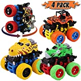 LENNYSTONE Monster Trucks Toys for Boys, Friction Powered Dinosaur Cars Push and Go Vehicles Toy for Toddlers Kids, Best Christmas Birthday Party Gift for Age 3 4 5 6 7 8 Year Old (4 Pack)