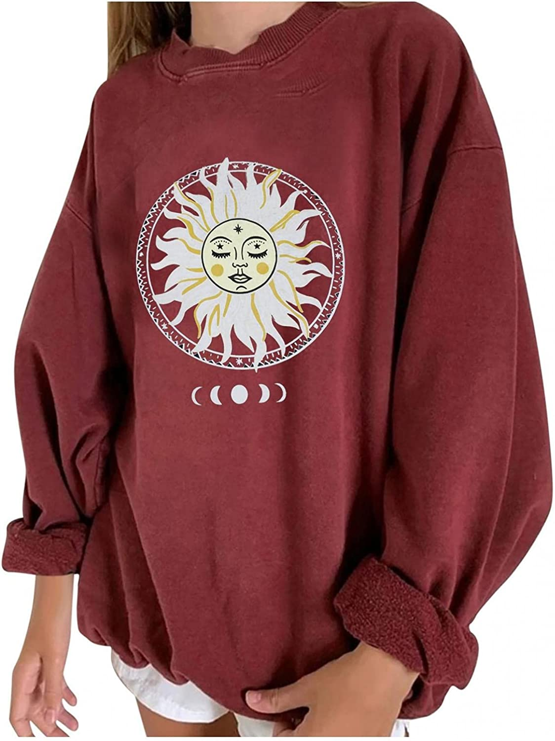 Aniwood Oversized Sweatshirt for Women Casual Long Sleeve Moon and Sun Print Loose Crewneck Pullover Sweaters Tops Shirts