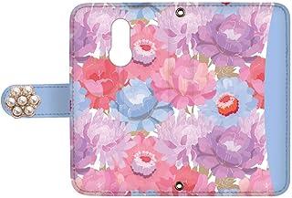 スマQ LG Style L-03K 国内生産 ミラー スマホケース 手帳型 LG エルジー エルジー スタイル 【C.ブルー】 【花デコ】 花柄 バイカラー ami_vd-0159-deco
