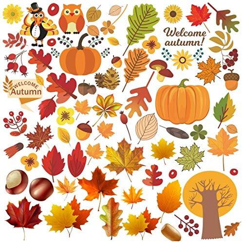 JoyTplay Thanksgiving Stickers herfstbladen, ramen, afbeeldingen, herfstbladen, vensters, afbeeldingen, voor oogstfeesten, feesten, ramen, decoraties