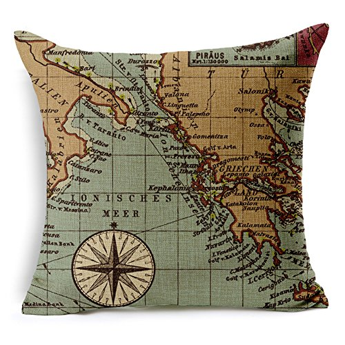 Poens Dream Cuscino, Marine Nautical Art Printed Cotton Linen Decorative Pillow Cushion Cover, 17.7 x 17.7inches