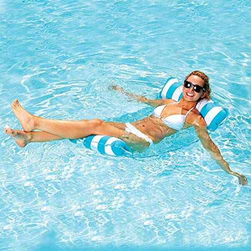 Goldmiky Aufblasbare Pool-Hängematte, schwimmende Lounge, Drifter und Sattel 4 in 1, Premium Wasser Hängematte für Erwachsene für Schwimmpartys (Hellblau)