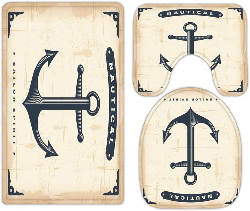 Ocean Anchor Vintage Style Theme Nautical Rugs Bathroom 5 ☆ very popular Mats and Max 43% OFF
