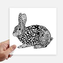 DIYthinker Cute Fat Rabbits Animal Portrait Sketch Square Stickers 20Cm Wall Suitcase Laptop Motobike Decal 4Pcs 20Cm X 20...