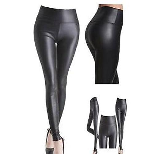 94769c4ebc4c6 Women Ladies Normal High Waisted PVC Leather Wet Look Leggings Pants Plus  Size 8-24