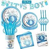 Amycute 92 piezas Baby Shower Joven Kit, It's A Boy Pancarta Platos de papel, Mantel, Vasos, Servilletas, Vajilla para Baby Shower Niños