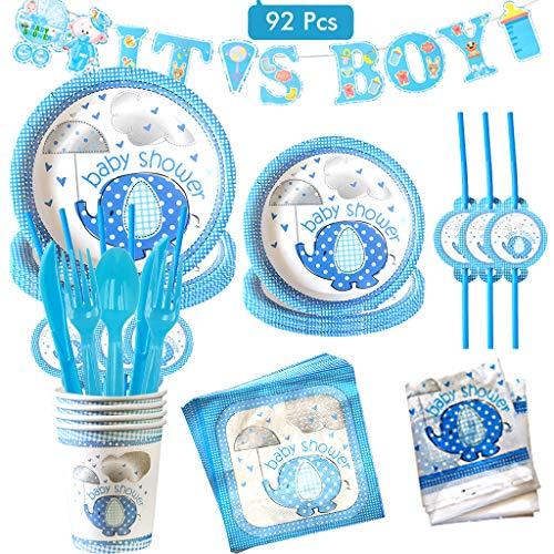 Amycute 92 piezas Baby Shower Joven Kit, It's A Boy Pancarta Platos...