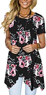 MIROL Womens Summer Short Sleeve Floral Print Irregular Hem Asymmetrical Loose Fit Tunic Tops