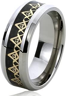Prime Pristine Titanium Wedding Band Ring for Men & Women Yellow Tone Masonic Symbol Ring for Men & Woman