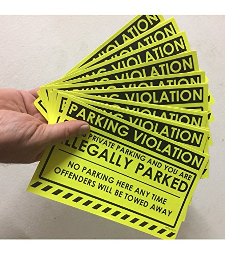 """No Parking Violation Stickers Hard to Remove (Yellow) 10-Pack Illegal Parking Warnings and Towing Tags for Illegally Parked Vehicles in Your Lot – Super Sticky Car Permit Notices 8"""" x 5"""" by MESS Photo #6"""