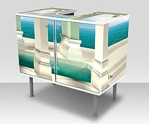 wandmotiv24 Bathroom cabinet optical illusion of a waterfall Design cabinet bathroom M0774Vanity cabinet Complete gluing