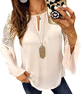 Womens Casual Tops Lace Splice Flare Sleeve Flowy Loose Boho Blouse T-Shirt