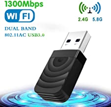 TouchSKY WiFi USB 3.0 Antena Adaptador 1300Mbps Mini WiFi USB Dongle Dual Band 2.4G/5.8GHz Receptor para PC Desktop Laptop Tablet, Windows XP/Vista/7/8/10/Mac OS 10.9-10.14