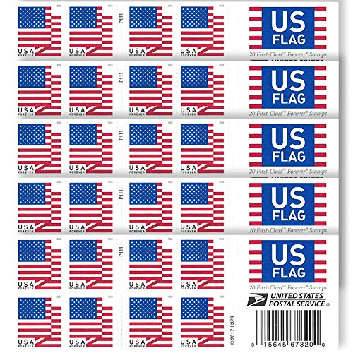Your Forever Stamps 2018 Postage Stamps Additional 10# Business Envelopes (5 Booklet - 100 Stamps)