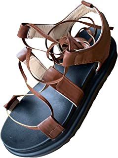 Sponsored Ad - Sandals for Women Summer Casual Gladiator Sandals Thick-soled Cross Straps Comfortable Beach Women's Sandals