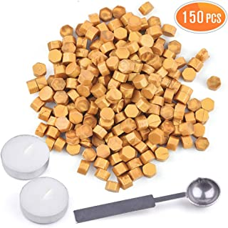 150PCS Gold Sealing Wax Beads, with 2PCS Tea Candles and 1 Piece Wax Melting Spoon, LotFancy Octagon Wax Seal Kit for Sealing Stamp, Envelope, DIY Wedding Invitation, Thank You Letter, Gift Wrapping