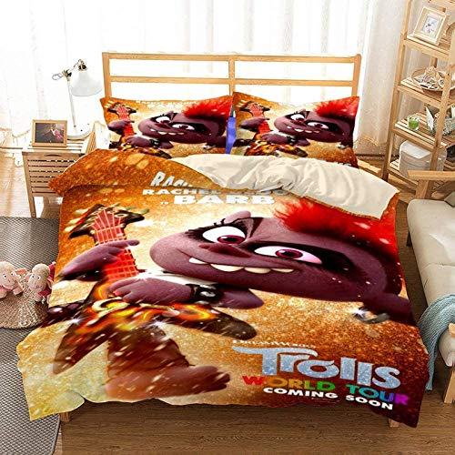 NBAOBAO Trolls World Tour - Juego de ropa de cama de 3 piezas, diseño de Trolls