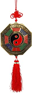 ZeeStar Feng Shui Foo Dog Biting a Sword & Bagua Mirror with Chinese Knot Tassel - for Family Protection