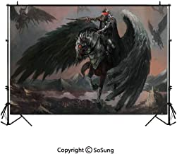 7x5Ft Vinyl Fantasy World Backdrop for Photography,Pegasus King Leading His Army Dark Ages Imaginary Magic Story Artwork Print Background Newborn Baby Photoshoot Portrait Studio Props Birthday Party B