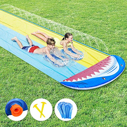 Fixget Water Slip and Slide, Shark Water Splash Slide with 2 Boogie Boards, 2 Giant Racing Lanes with Sprinklers and Inflatable Crash Pad, Kids Adult Lawn Garden Outdoor Party Water Toys (16ft x 5ft)
