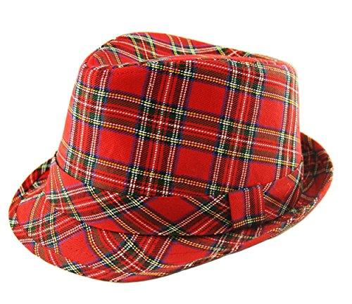 UD Accessories Chapeau de Fedora à carreaux écossais pour homme - Rouge - Large