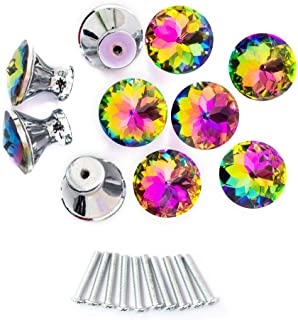 Spriak 10 Pack Drawer Knobs, 30mm Colorful Crystal Glass Cabinet Dresser Pulls Diamond Shape Cupboard Wardrobe Knob for Kitchen Bathroom Office DIY