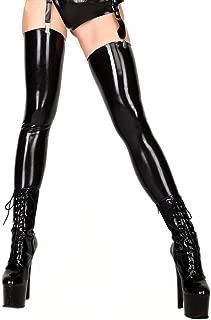 ECOSPLAY Women's Fetish Range Latex Rubber Black Thigh-high Stockings
