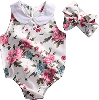 Canis Baby Girls' Romper Full Of Floral Jumpsuits With Headband
