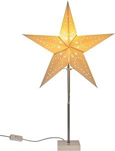 Idena lámpara con Navidad estrella de papel, aprox. 60cm, color blanco, 10045099