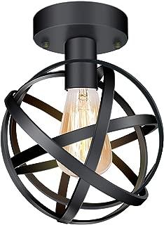 CHICLUX Vintage Industrial Ceiling Light, Semi Flush Mount Metal Cage Globe Spherical Lamp Light Fixture for Bedroom Livingroom Kitchen Farmhouse, Black