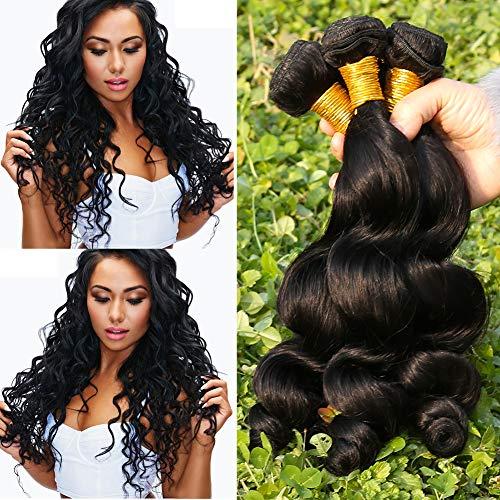 8A Brazilian Hair Waves 3 Bundles 100% Human Hair Weave Loose Wave Bundles Remy Echthaar Tressen Weave Hair Brasilianische Haare 10 12 14 Zoll Natural Color Total 300g