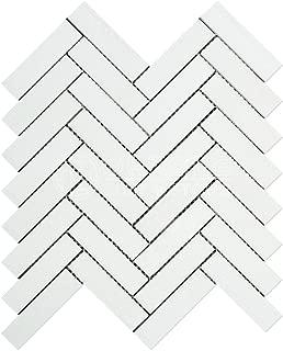 Thassos White Greek Marble 1 X 4 Herringbone Mosaic Tile, Honed