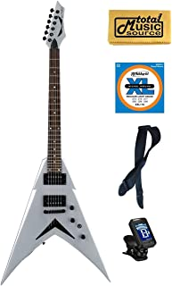 Dean V Dave Mustaine Metallic Silver Electric Guitar FREE Strings Tuner Strap