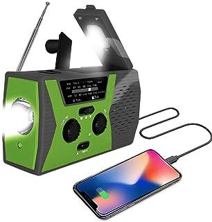 [2019 Upgraded Version] Portable Radio, Weather Radio with LED Flashlight, SOS Alarm Solar Hand Crank Emergency Radio, 2000mAh Power Bank for Smart Phone, AM/FM NOAA Radio, 6 LEDs Reading Lamp