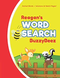 Reagan's Word Search: Solve Safari Farm Sea Life Animal Wordsearch Puzzle Book + Draw & Sketch Sketchbook Activity Paper | Help Kids Spell Improve Vocabulary Letter Spelling Memory Logic Skills Creativity | Creative Fun | Personalized Name Letter R
