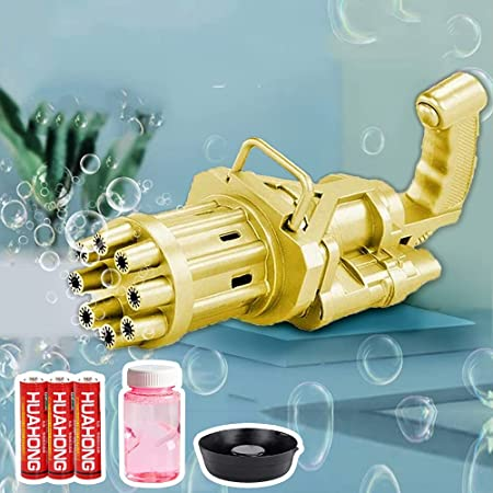 Gatling Bubble Machine for Kids Toddlers, Automatic Gatling Bubble Gun Blower Maker, with 3 Batteries and Bubble Water (Gold)