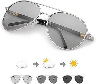 c3b4988c7f TJUTR Polarizadas Gafas de Sol Fotocromaticas Hombre, Aviador Metal Marco  Antideslumbrante -100% Protección