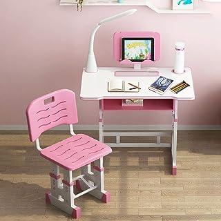 KKTECT Escritorio para niños Juego de sillas de Escritorio de Estudio para niños de Altura Ajustable Escritorios de Estudio de Escritura para Estudiantes multifuncionales con luz LEDl (Rosado)
