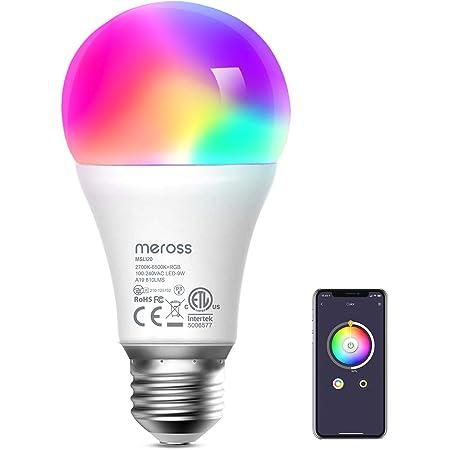【Amazon Alexa認定】Meross WiFi スマートLED電球 E26 800lm 60W相当 電球色・昼白色対応 調光調色 RGB 1600万色 ハブ・ブリッジ不要 Alexa/Google Home 対応 MSL120JP-VC