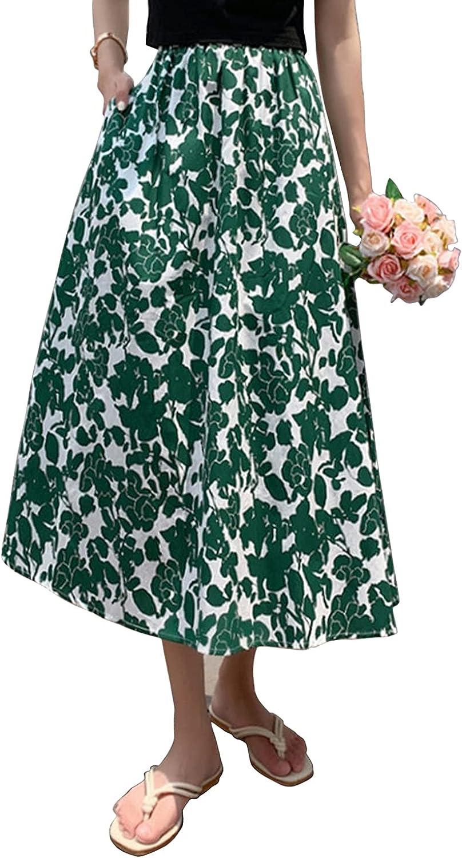 Beautisun Women High Waist Floral Print Swing Skirt with Pockets Boho A-line Maxi Skirt Casual Flared Skirt