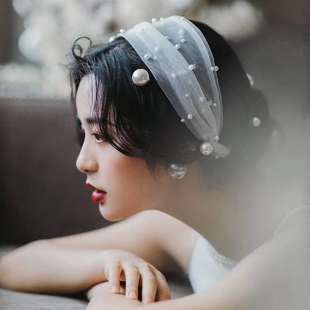 Abien Pearl Bride Wedding Headband Veil White Bridal Tulle Hair Accessories Headpiece Lace Crown
