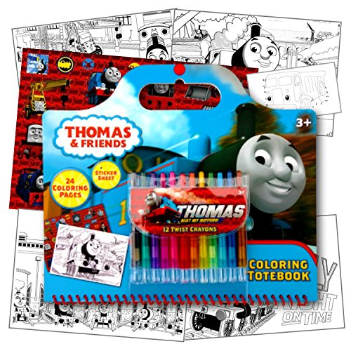 Thomas The Train Coloring Activity Set with Twist Crayons, Coloring Book Activity Pages, & 1 Large Sheet of Stickers ~ Plus 1 Fun Separately Licensed Coloring Activity Sticker