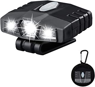 Ultra Bright Mini Hands-Free Cree LED Clip on Hat Light - Rechargeable 150 Lumens Lightweight Spotlight Waterproof - Best Cap Light Flashlight Head Lamp For Fishing Running Camping Cycling Hand Work