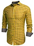 Coofandy Men's Fashion Long Sleeve Plaid Button Down Casual Shirts Gold XXX-Large